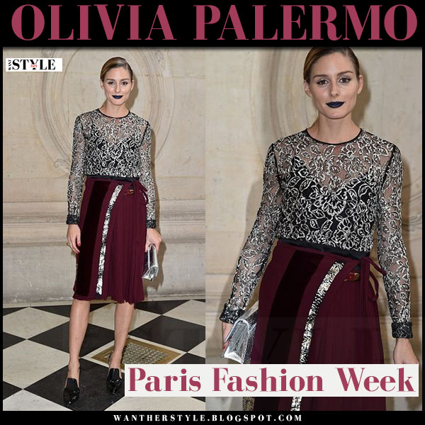 Olivia Palermo in sheer embroidered top, burgundy skirt and black patent pumps gainvito rossi what she wore dior who paris