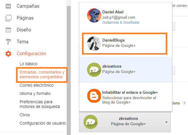 Blogger Compartir en Google