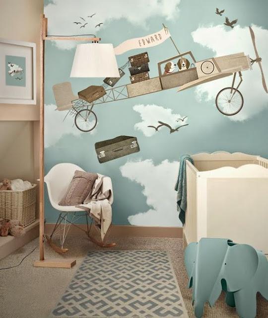 painel vintage para quarto de bebê
