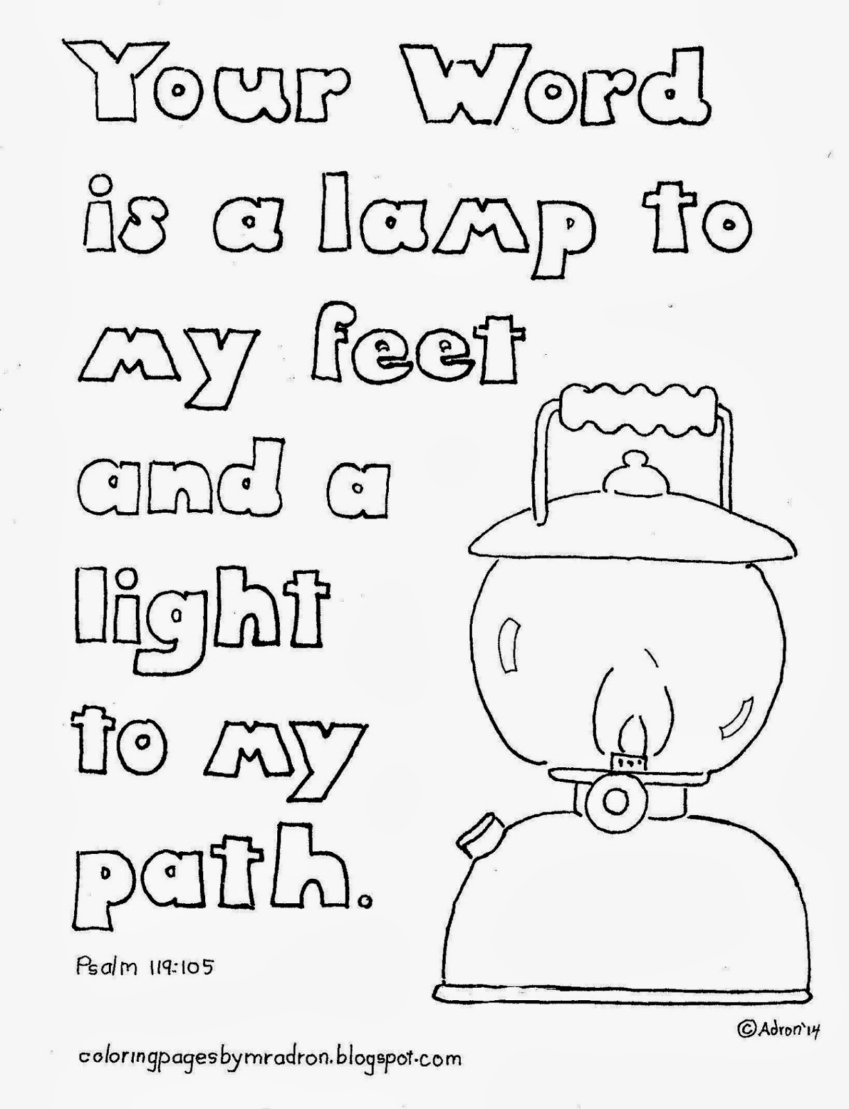 Psalm 119105 Your Word Is A Lamp To My Feet Coloring Page