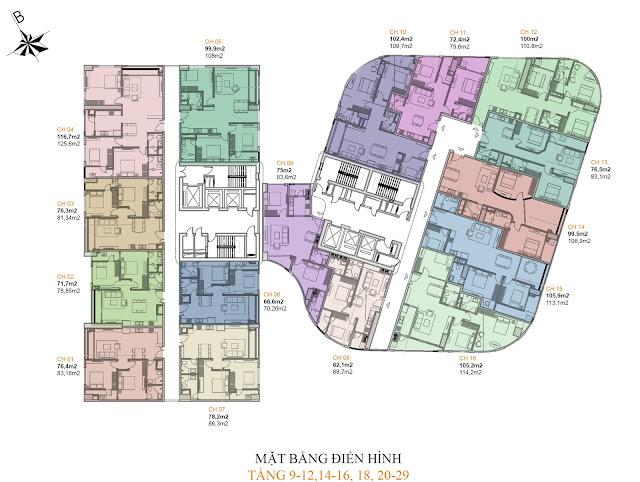 Mặt bằng điển hình các tầng căn hộ còn lại