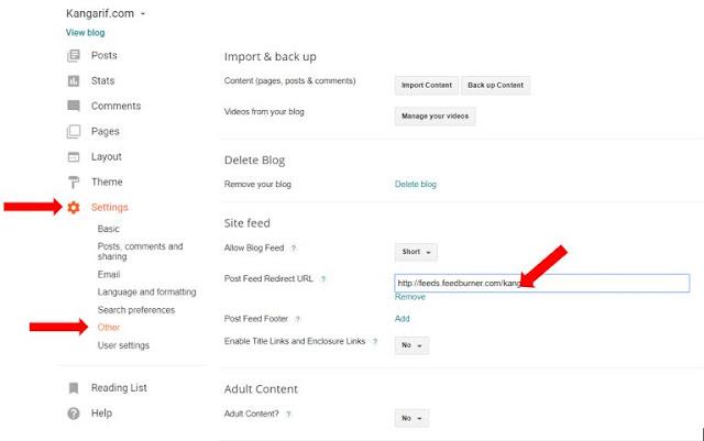 "2. Pada Dashboard Blogger anda, silahkan pilih ""Setting/Setelan"" Kemudian pilih ""Other/Lainnya"". Lalu masukkan URL Feedburner blog anda yang telah dibuat tadi pada kolom feed yang telah disediakan oleh blogger. Selanjutnya, Klik Save Setting/Simpan Setelan."