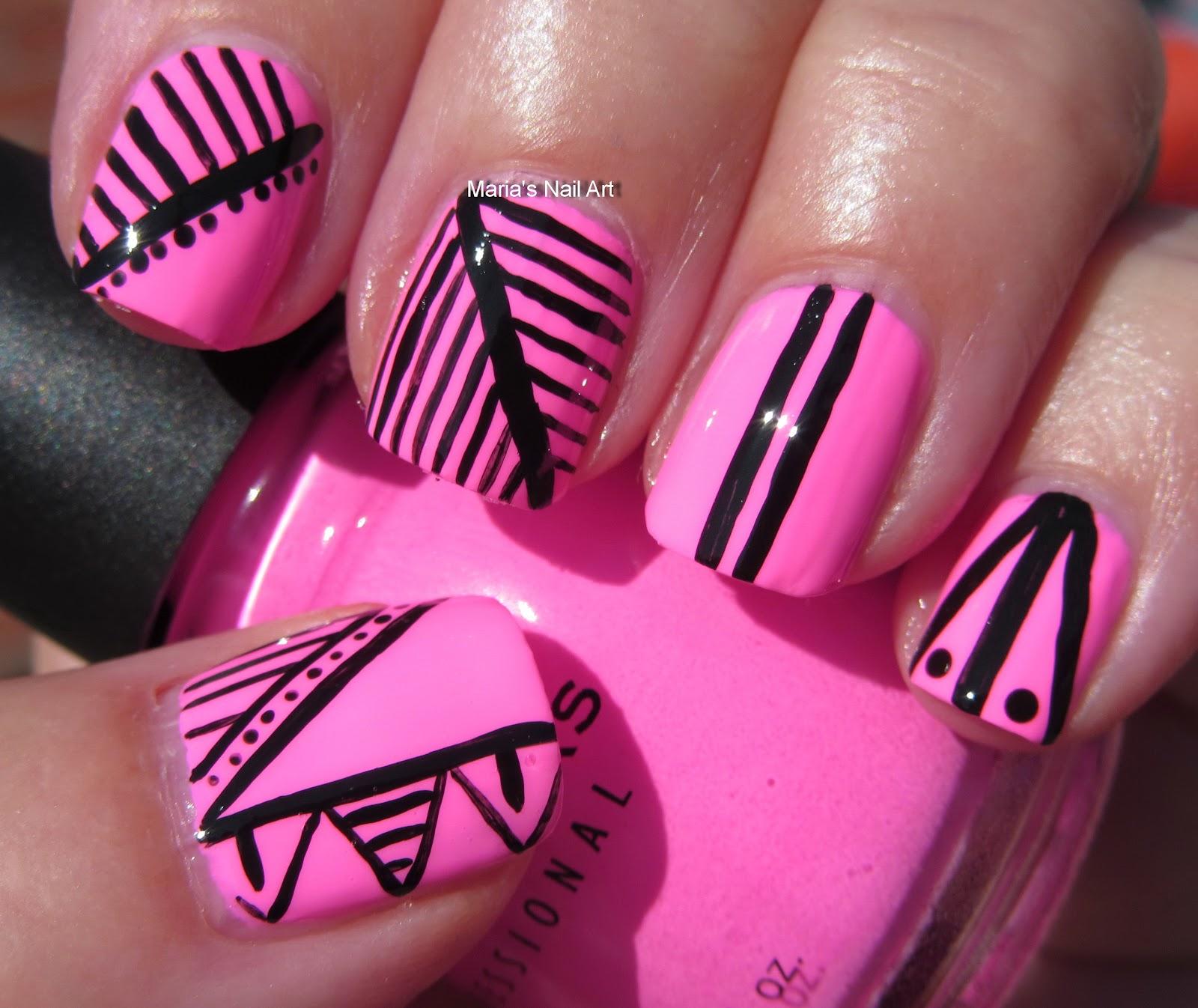 Black White Pink Nail Art Designs: Marias Nail Art And Polish Blog: Black & Pink