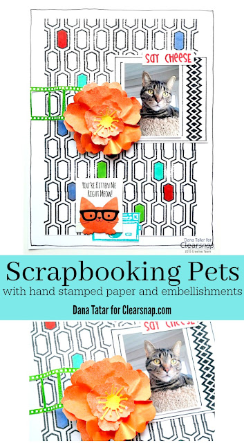 How to Create Hand Stamped Patterned Paper and Embellishments for a Pet Scrapbook Page by Dana Tatar