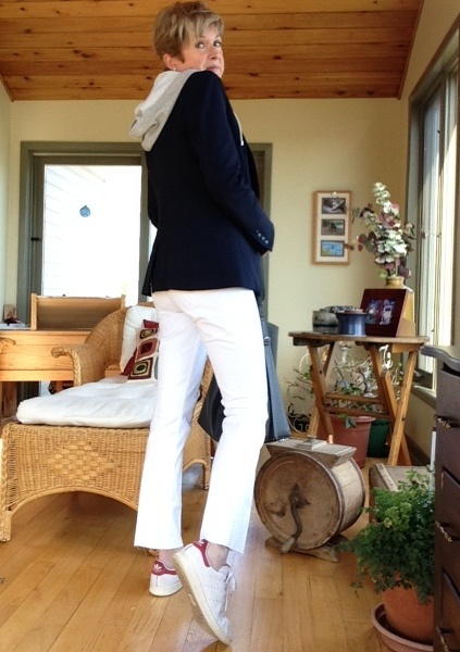 Navy Veronica Beard scuba jacket with grey hoodie, Stan Smith Adidas, All Saints tote, DIY kick flare jeans