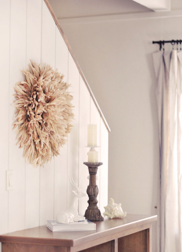 neutral decor, african feather juju hat wall art diy