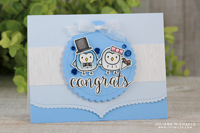 Congrats Wedding Card by Juliana Michaels featuring Pretty Pink Posh Happy Owls Stamp and Die Set
