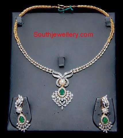 Simple Diamond Necklace Set Indian Jewellery Designs
