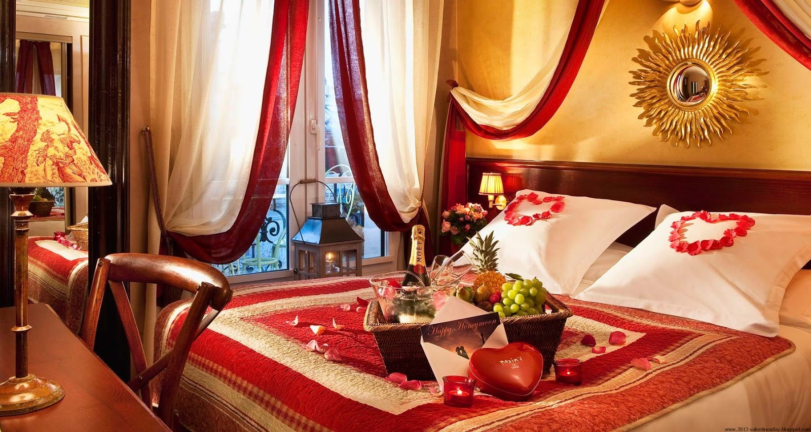 Valentine 39 s day bed room decoration ideas 2016 - Valentine day room decoration ...