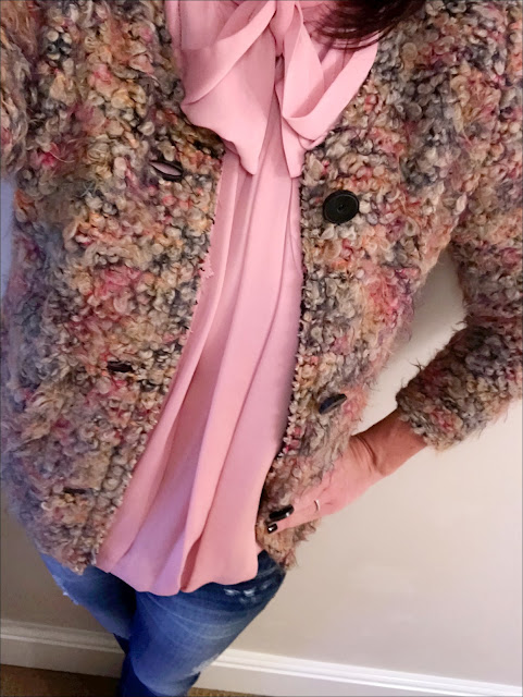 My Midlife Fashion, Somerset by alice temperley pink pussy bow blouse, zara skinny distressed jeans, hush thornton ankle boots