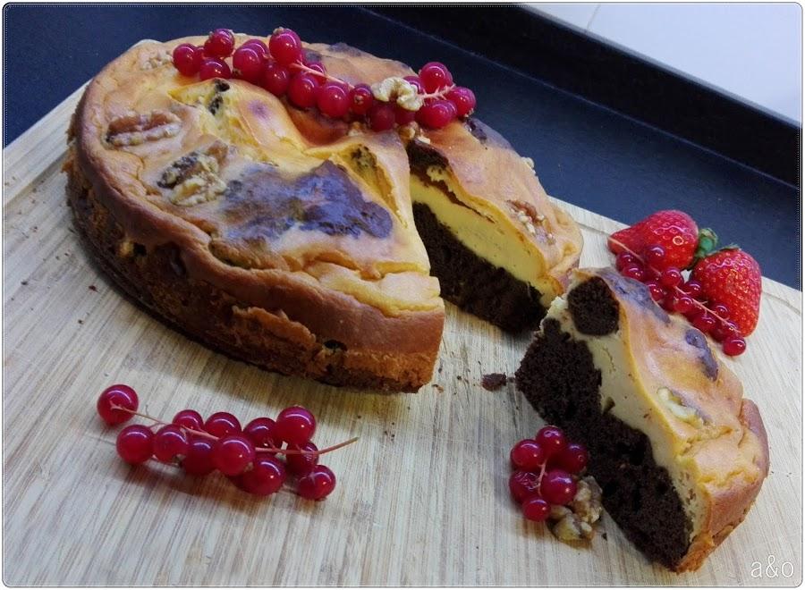 Tarta de brownie y cheesecake