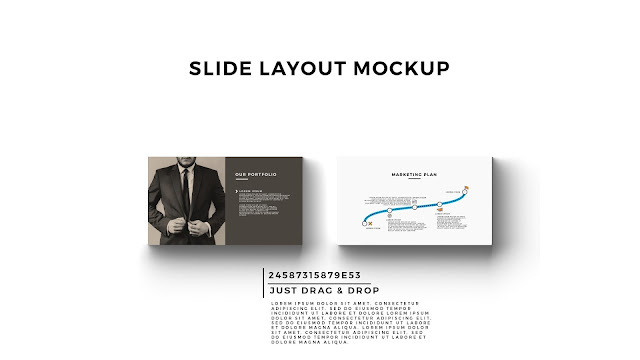 Business Card Style Presentation Mockup for PowerPoint Template with 2 Shadows