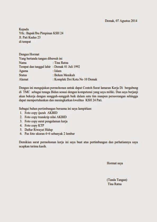 2rugby Contoh Surat Lamaran Kerja Mekanik Dalam Bahasa Inggris Dan