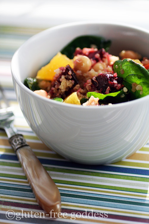Gluten-Free Goddess quinoa salad with roasted beets chick peas and oranges