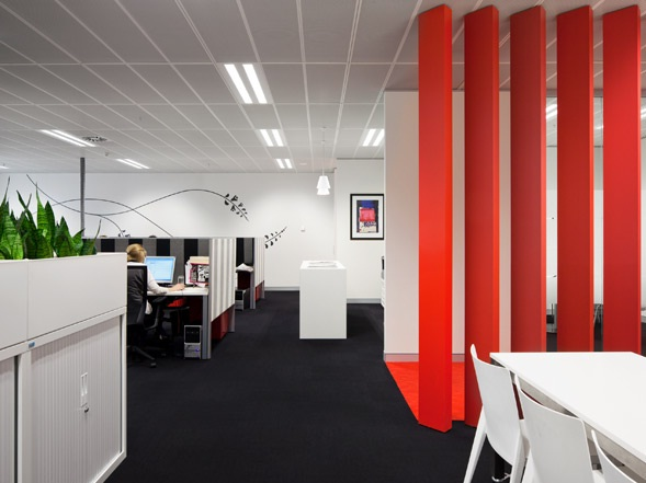 Sefiani Office Design With Modern Red
