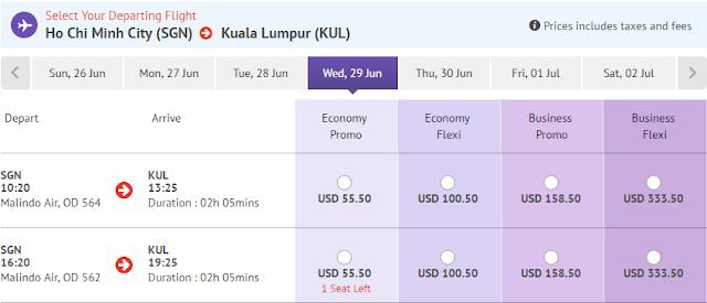 Giá vé máy bay đi Kuala Lumpur hãng Malindo