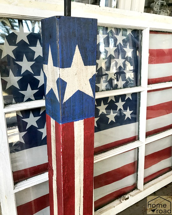flag draped window and DIY firecracker