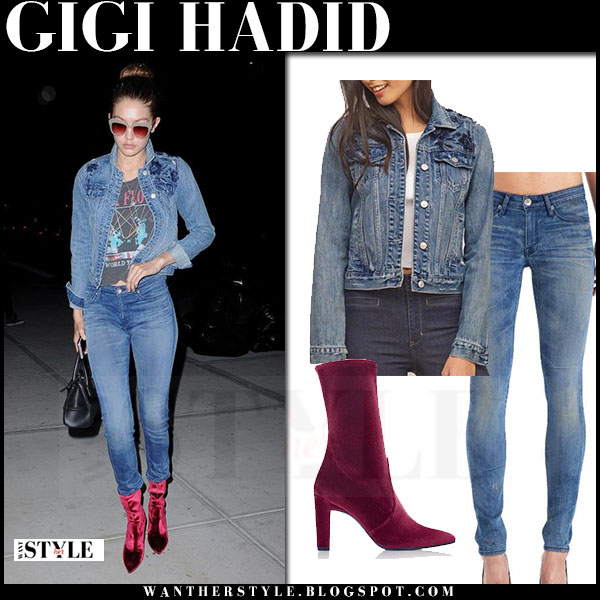 Gigi Hadid in denim jacket, skinny jeans and velvet burgundy boots what she wore model style