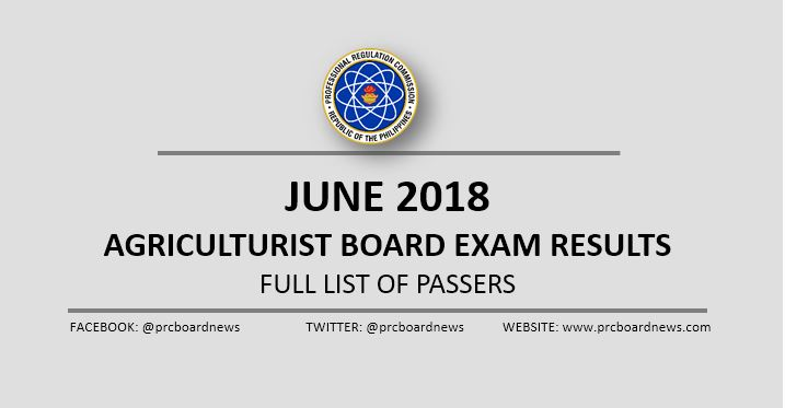OFFICIAL RESULTS: June 2018 Agriculturist board exam list of passers