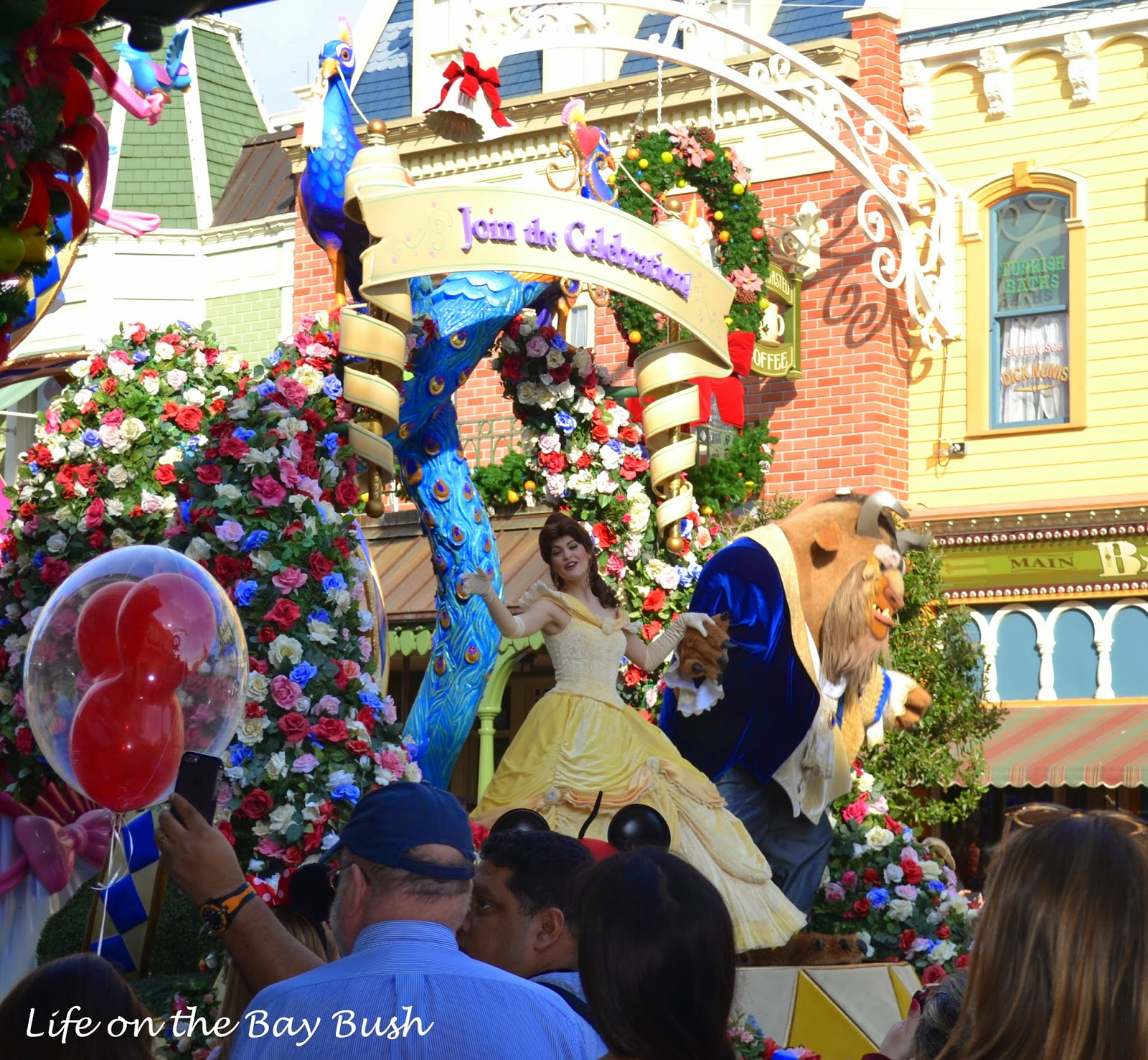 Beauty and the Beast in the parade at the Magic Kingdom