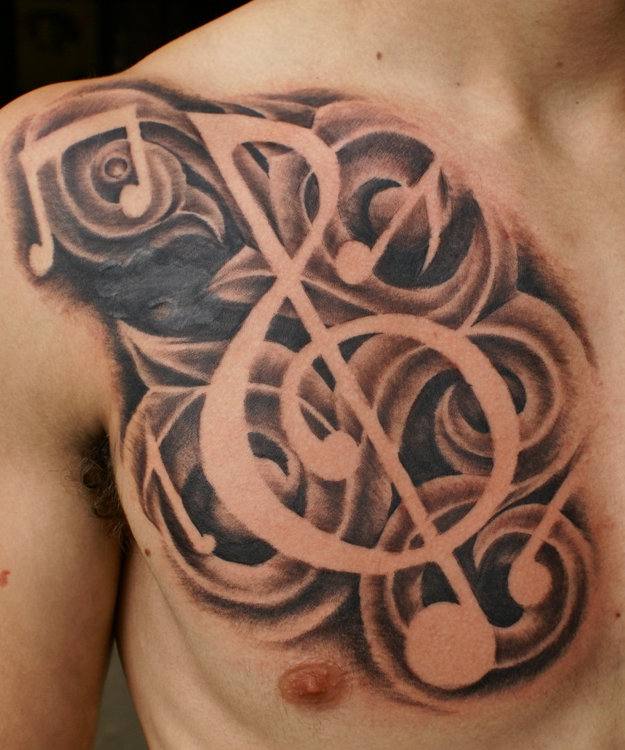 freehand music tattoo by brettpundt