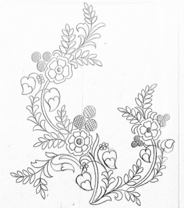 Florals Design Drawing For Hand Emroidery Saree Design Floral