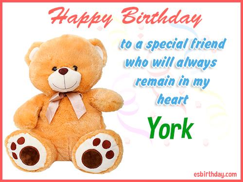 York Happy birthday friend