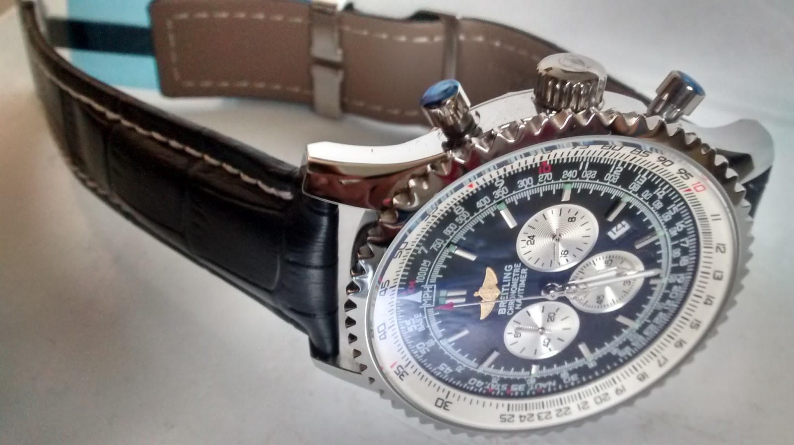 Breitling Leather Black Watch Chronometre Navitimer Watch Price 4500
