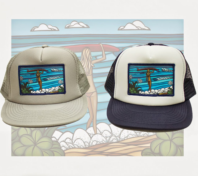 ef16c5ff7b4 surf art. Hawaii Surf Artist Heather Brown releases Surf Stroll Trucker hat