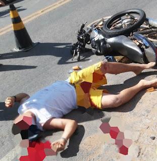 Motociclista morre ao ser atropelado por caminhão-pipa na cidade de Nova Floresta