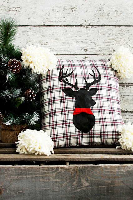 flannel deer christmas pillow diy
