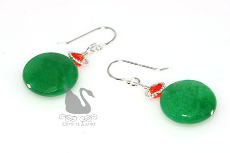 Crystal Pickle Green Dyed Jade Gemstone Beaded Earrings (E274-PG)