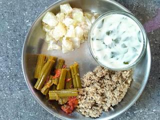 Kodo millet (Varagu), Ash gourd kootu, Sesbania (Agathi) greens soup, Drumstick masala