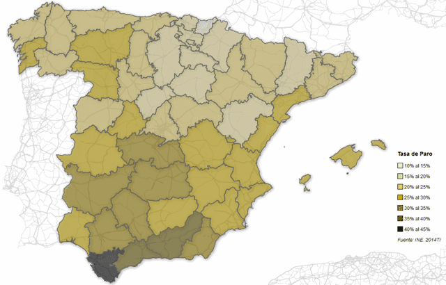 Mapa del paro en España por provincias (INE 2014)