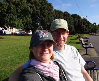 Enjoying a break from Crazy Golfing to have a nice sit down on a park bench at Canoe Lake in Southsea
