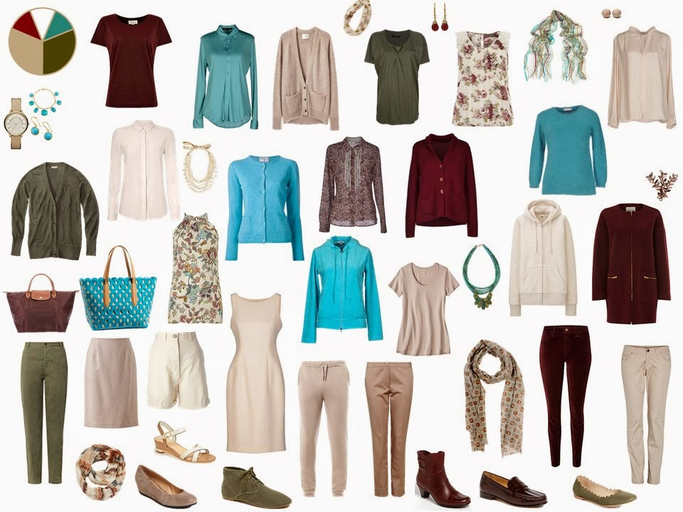 olive and beige Starting From Scratch wardrobe with turquoise and maroon accents