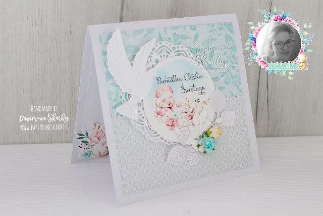 scrapbooking handmade rękodzieło cardmaking kartka kartki chrzest święty pamiątka chłopiec chłopczyk dla chłopca dla chłopczyka papierowe skarby od matki chrzestnej ojca chrzestnego aniołek