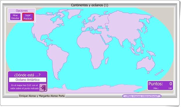 """""""Continentes y océanos 1"""" (Juego de Ciencias Sociales de Primaria)"""