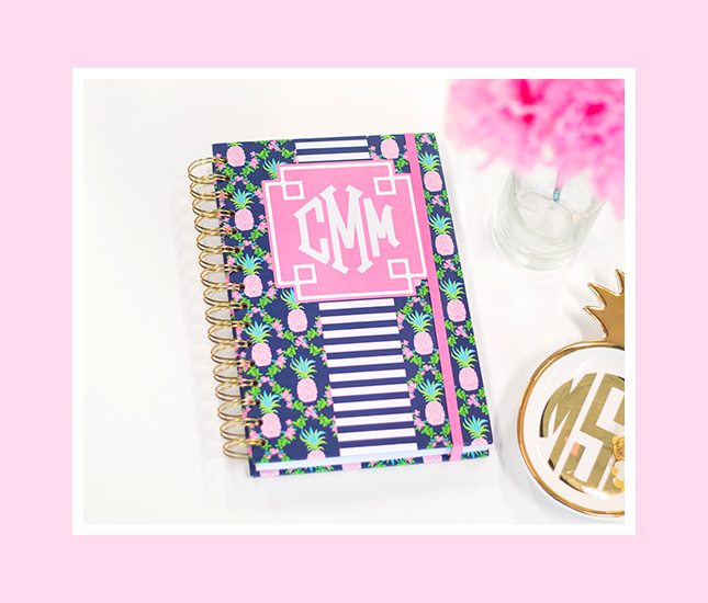 personalized blue notebook