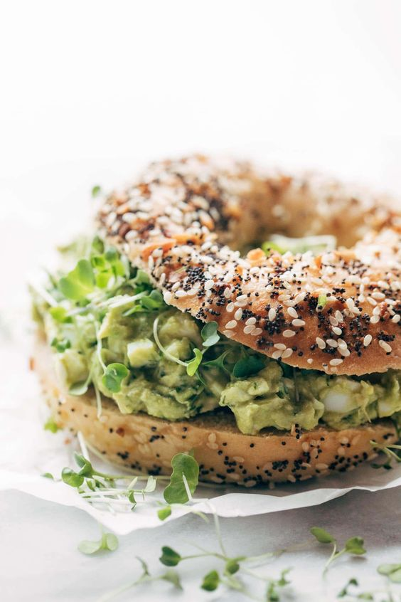 Avocado Egg Salad - no mayo here! just avocados, eggs, herbs, lemon juice, and salt. especially good on an everything bagel. just saying. Gluten Free / Vegetarian. #vegetarian #glutenfree #sugarfree #healthy #snack #lunch #recipe