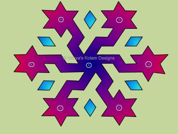 Nithya's Kolam Designs: Kolam 47 : Star Kolam Interlocked
