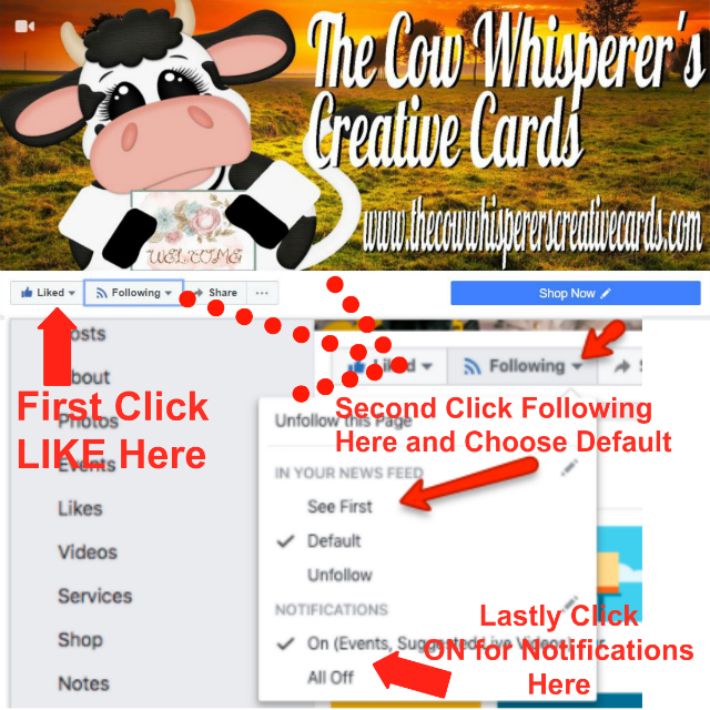 Facebook Live, Follow, Like, The Cow Whisperers Creative Cards