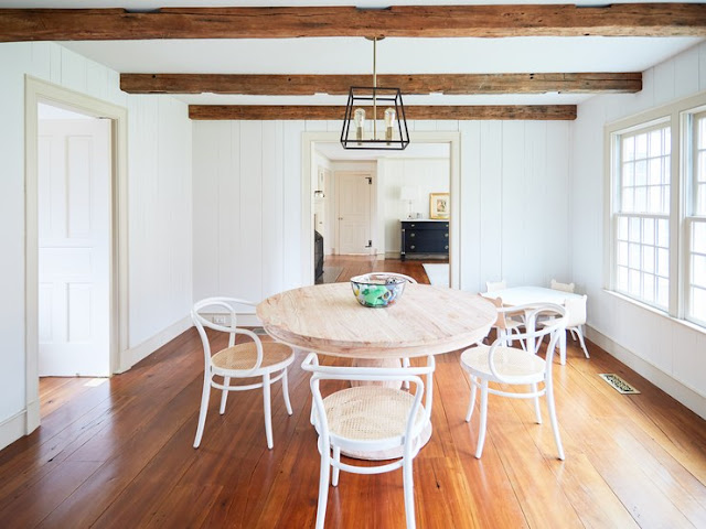 Before image of kitchen dining area in Connecticut modern farmhouse of One King's Lane - found on Hello Lovely Studio