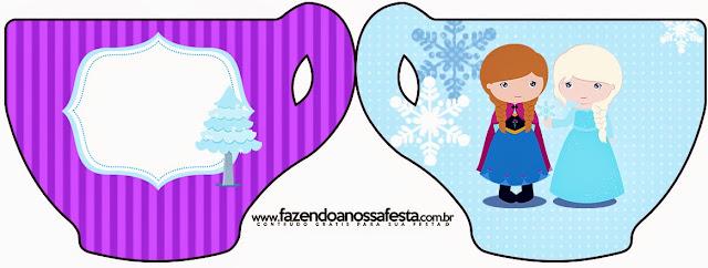 Tarjeta con forma de Taza de Frozen Niñas en Navidad.