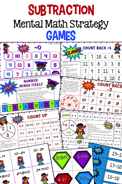 Math Fact Fluency Subtraction Games  These math fact fluency subtraction games were designed using the mental math strategies. Research confirms that students learn the basic math facts quicker if they learn them in the context of the mental math strategies.