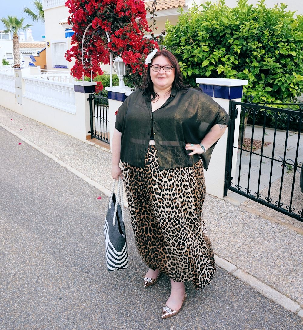 Leopard print skirt and sheer gold shirt plus size outfit featuring Elvi plus size cruise wear plus size evening wear plus size occasion wear