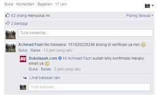 Konfirmasi pembayaran via Facebook