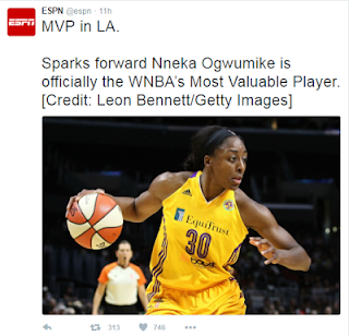Congrats! Nigeria's Nneka Ogwumike awarded WNBA Most Valuable Player of 2016