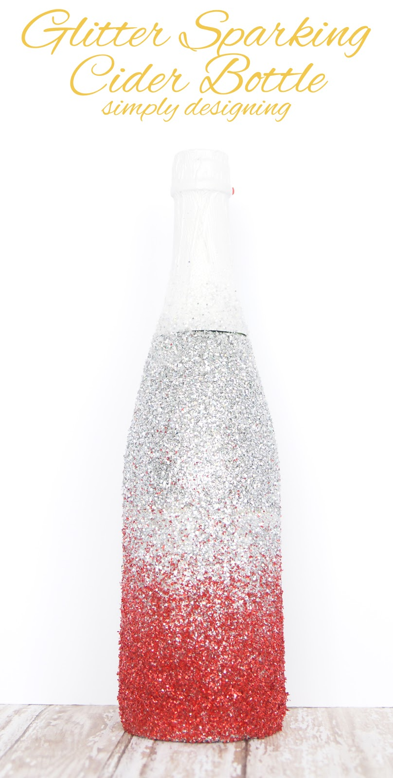 Glitter Champagne Bottle | a perfect way to dress-up a bottle of bubbly for Valentine's Day, Christmas, New Year's or a Wedding | #glitter #valentinesday #celebration