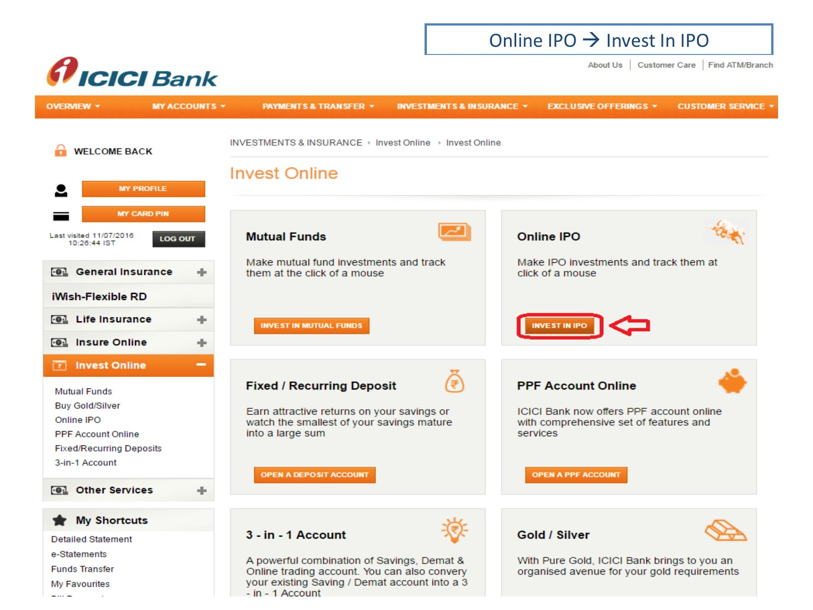 Ipo from icici net banking